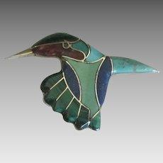 Charming NA Inlaid Hummingbird Brooch