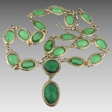 Fabulous Large Grass Green Faceted Glass Link Necklace with Dangle