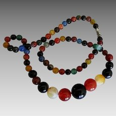 Colorful Graduated Carnelian Onyx Agate Bead Necklace