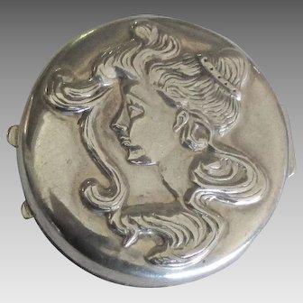 Vintage Sterling Female Profile Vanity Box