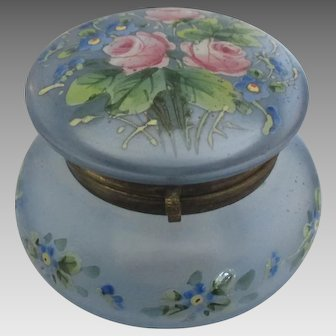 Vintage HP Roses and Forget-Me-Not Blue Glass Hinged Box