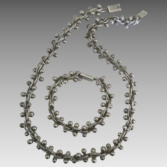 Stunning Sterling Bead Chain Necklace and Bracelet Set- 130 Grams!