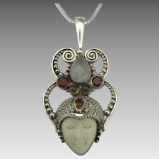 Ornate Sajen Sterling Gemstone Goddess Pendant and Chain
