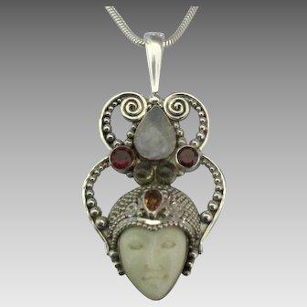 Ornate Sajen Sterling Gemstone Goddess Pendant and Chain
