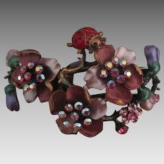 Fabulous Rhinestone Enamel Flower Ladybug Copper Bracelet