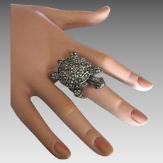 Bold Vintage Rhinestone Turtle Expansion Ring