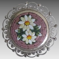 Rare Italian Micro Mosaic Adjustable Ring