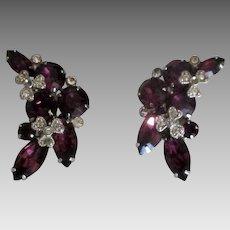 Stunning Eisenberg Ice Purple Rhinestone Earrings