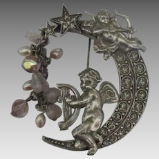 Signed Kirks Folly Cherub Crescent Moon Brooch with Dangles