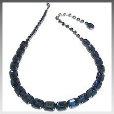 Stunning Vintage Weiss Cobalt Rhinestone Necklace