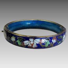 Vintage Chinese Cloisonne Enamel Hinged Cobalt Blue Bracelet
