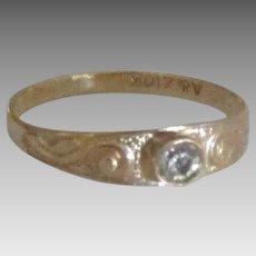Sweet 10K Rose Cut Diamond Baby Ring
