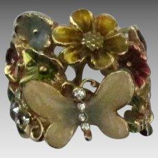 Pretty Enamel Butterfly Flowers Ring