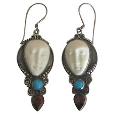 Estate Carved Goddesses Sterling Gemstone Pierced Earrings