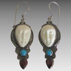 Estate Carved Goddesses Sterling Gemstone Pierced Earrings