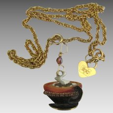 """Wonderful"""" Lunch at the Ritz"""" Coffee or Hot Chocolate Cup Pendant"""