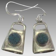 Vintage Navajo Sterling Turquoise Bell Pierced Earrings