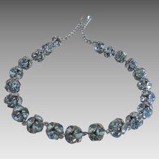 "Gorgeous Vintage Blue Rhinestone Rondelle 18"" Necklace"
