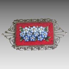 Vintage Italian Filigree Micro Mosaic Flower Bouquet Brooch