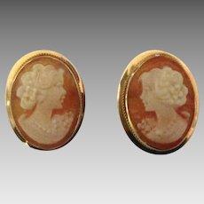 Lovely Vintage Italian 14K Cameo Pierced Earrings