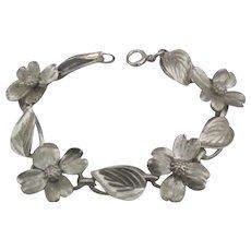 Vintage Sterling Silver Dogwood Flower Link Bracelet