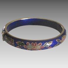 Vintage Hinged Cobalt Cloisonne Flower Bracelet