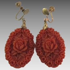 Vintage Coral Celluloid Carved Flowers Earrings