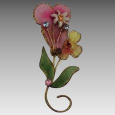Vintage Enamel Rhinestone Floral Brooch