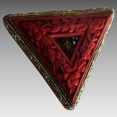 Vintage Chinese Carved Cinnabar Fur Clip