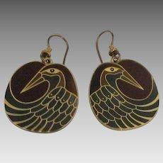 Vintage Laurel Burch Bird Pierced Earrings