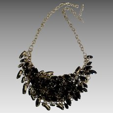 Fabulous Black Rhinestone Navette Bib Necklace