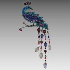 Vintage Glittering Rhinestone Peacock Brooch with Dangles