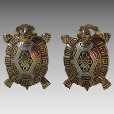 Vintage Spanish Damascene Turtle Earrings