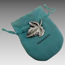 Authentic Vintage Tiffany & Co Leaf Brooch with Bag