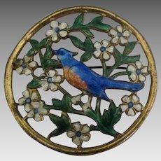Beautiful Enamel Blue Bird with Daisies Brooch