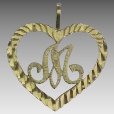 Lovely 14K YG Heart with Initial M Pendant or Charm