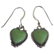 Lovely Sterling Gaspeit Heart Pierced Earrings