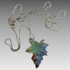 Charming Enamel on Sterling Ladybug Leaf Pendant and Chain
