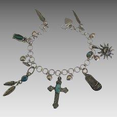 Vintage Southwest Sterling Inlaid Mineral Charm Bracelet