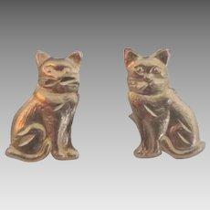 Charming 14K YG Kitten or Cat Pierced Earrings