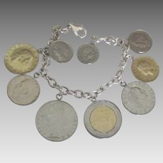 Chunky Sterling Bracelet with Authentic Italian Coins