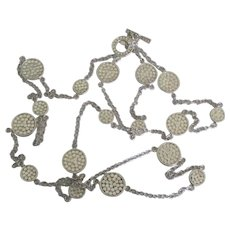 """Sterling Textured Disk and Chain Necklace- 36"""""""