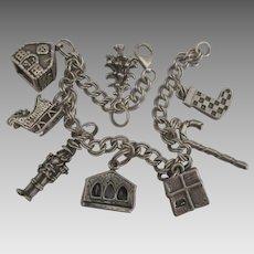 Vintage Sterling Christmas Theme Charm Bracelet