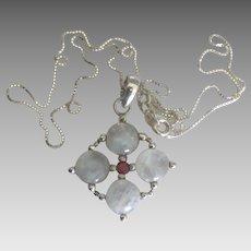Lovely Sterling Moonstone Garnet Pendant and Chain