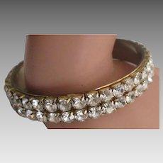 Dazzling Double Row Rhinestone Bangle Bracelet