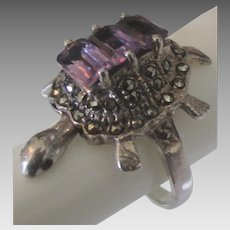 Stunning Sterling Amethyst Marcasite Movable Turtle Ring