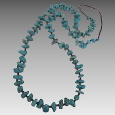 Wonderful Turquoise Nugget Heishi Necklace- 30 Inches