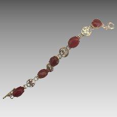 Vintage Chinese Gold Wash Sterling Carnelian Bracelet