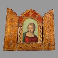 Vintage Italian Wooden Gesso Religious Triptych