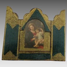 Vintage Italian Wooden Madonna with Child Triptych